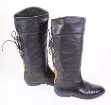 30S Damen Reiter Stiefel Boots Leder schwarz khaki Gr. 38 Schnürdetail Vintage