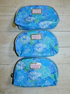 Lilly Pulitzer for Estee Lauder Make Up Case Zip Up New Set of (3)