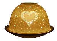 Resplandor De Luz Corazón Vela Del Té sostenedor votivo CURVADO cerámica