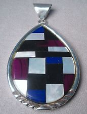 Modern Southwest Sterling Mother of Pearl, Onyx, Sugilite & Lapis Inlay Pendant