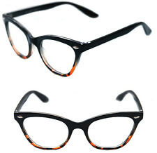 Women's Cat Eye Vintage Clear Lens Eye Glasses small Black Brown Clear Frame