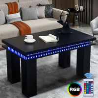 RGB LED Wood Tea Coffee  High Gloss Modern Living Room Sofa Side En