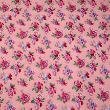 Raspbery Red & Blue Flowers on Pink Cotton Fabric by Cranston Per 1/2 Yd