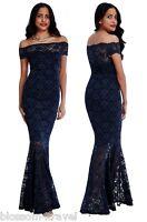 Goddiva Navy Lace Bardot Maxi Evening Fishtail Mermaid Formal Party Dress Prom