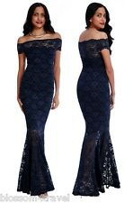 Goddiva Navy Lace Bardot Maxi Evening Fishtail Mermaid Formal Party Dress Prom 12