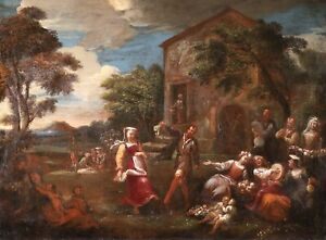 17th CENTURY HUGE FLEMISH OLD MASTER OIL ON CANVAS - DANCING COUPLE FESTIVAL