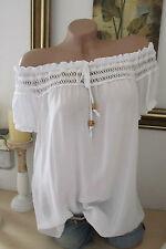 Italie été blouse tunique crochet blanc hippie grande chemise boho 36 38 40
