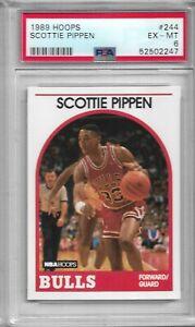 1989 90 NBA HOOPS SCOTTIE PIPPEN CHICAGO BULLS #244 PSA 6 EX MINT