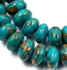 10x6mm Blue Mosaic Turquoise Rondelle Beads Beads (30)