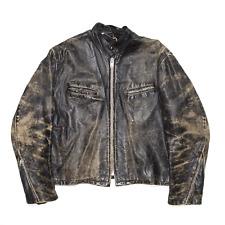 Vintage 70s Black Regular Leather Biker Jacket Mens L