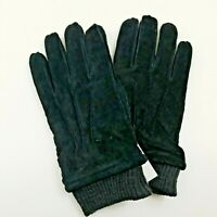 Goodfellow Men's Size L Faux Fur Lined Knit Cuff Suede Gloves, Black Tech Touch