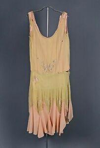 VTG Women's AS IS 20s Green & Pink Drop Waist Beaded Dress Sz M 1920s Flapper