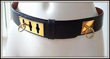 Ceinture Celine cuir made Italie 75/36 boucle métal doré belt vintage bag