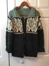 Fuzzy black/green wool/natural fiber sweater jacket hand knit cardigan XS/S