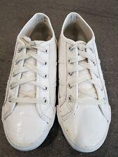 WOMENS LADIES WHITE LACE UP PUMPS FLATS SLIP ON SHOES SIZE 6 / 39 Patent