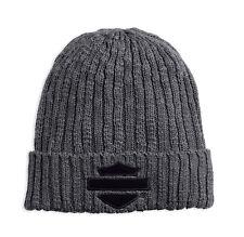 Harley-Davidson Men's Bar & Shield Logo Cuffed Knit Beanie Hat, Gray