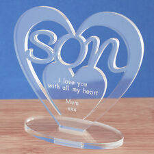 Personalised Heart with Message Ornament Keepsake Son Birthday Gift