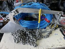 7kg Plough - CQR style boat anchor Kit 5 metres Of 8mm chain 150ft 10mm rope