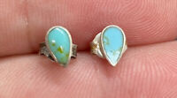 Sterling Silver 925 & Turquoise Inlay Tear Drop Post Pierced Earrings