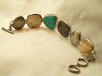 Estate Sterling Silver Silpada Multi Stone Turquoise Bracelet Ring & Toggle