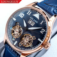 Mens Double Flywheel Skeleton Automatic Mechanical Watch Rose Gold Leather Strap
