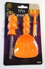 Pumpkin Carving Kit Orange 3 Piece Saw Scoop Poker NIP