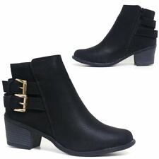 Ladies Chunky Block Heel Shoes Smart Office Work Ankle Chelsea Winter Boots Shoe