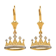 14K Yellow Gold Filigree Royal Crown Drop/Dangle Leverback Earrings