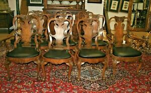 10 ANTIQUE CHIPPENDALE BURLWOOD DINING CHAIRS BALL & CLAW SPLAT BACK BURR