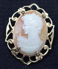 Vintage Unsigned 12K Gold Filled Filigree Frame Pink Shell CAMEO Pin Brooch