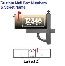 "Lot Of 2 Custom Mailbox Numbers & Street Name 14"" x 6.5""  Vinyl Decal - White"