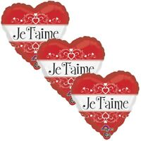 3 pc Je T'Aime Red I Love You Heart Happy Valentines Day Balloon Bouquet Kiss