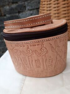 Vtg 80s Tooled Egyptian Scene Genuine Leather Tan Mini Grab Boho Bag. Nr Mint..