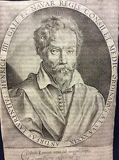 André du LAURENS 1558-1609 Médecin de Marie de Médicis et Henri IV gravure 1600