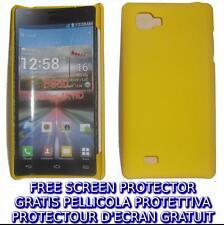 Pellicola+custodia BACK COVER GIALLA rigida per LG Optimus 4X HD P880
