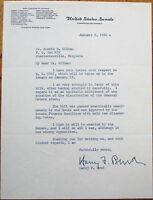 HARRY F. BYRD 1962 TLS Autograph Signed Letter - Virginia/VA Governor/Senator