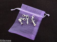 3 x Clip On Wiccan Bracelet Charms goddess athame chalice pagan silver set