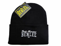 Benlee Rocky Marciano Black Pull Down Beanie Hat Cap with Embroided Logo Boxing