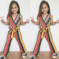 US Fashion Baby Girls Kid Striped Jumpsuit Playsuit Summer Romper Outfit Clothes