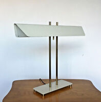 Vintage Mid Century Modern White Brass Banker Desk Table Lamp Thurston Laurel
