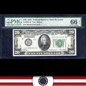 """1928 $20 ST LOUIS FRN """"NUMERICAL""""  PMG 66 EPQ  Fr 2050-H  H01881553A"""