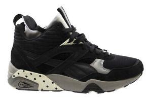 Puma Mens Trinomic R698 Mid Street Black Lace Up Trainers 360904 02