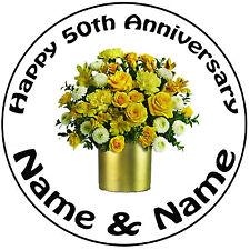 """Personnalisé 50th doré anniversaire de mariage ronde 8"""" precut icing cake topper"""