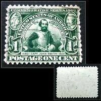 Scott #328 1907 1c Jamestown Commemorative Stamp Cap. J. Smith Nicely Centered