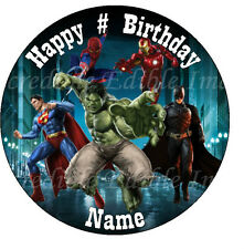 19cm Round SUPERHERO (Spiderman,Batman, Superman ect)  Edible ICING Cake Topper