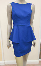 WOMENS BRIGHT BLUE LOW BACK PEPLUM MINI DRESS - LIPSY - 10