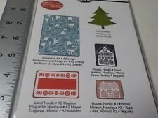 SIZZIX BASICGREY 658198 SNOWMEN #4 NORDIC TREE EMBOSSING FOLDERS NEW A6390