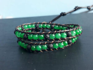 2 Wrap jade lava stone bracelets for Men and Women size 12-16''handmade