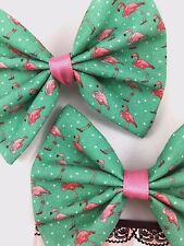 Pink Flamingo Print on Teal Fabric Hair Bow Summer Hair Clip Accessory