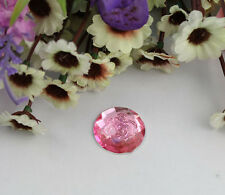 30pcs pink flower acrylic rhinestone round cabochon 18mm #22200